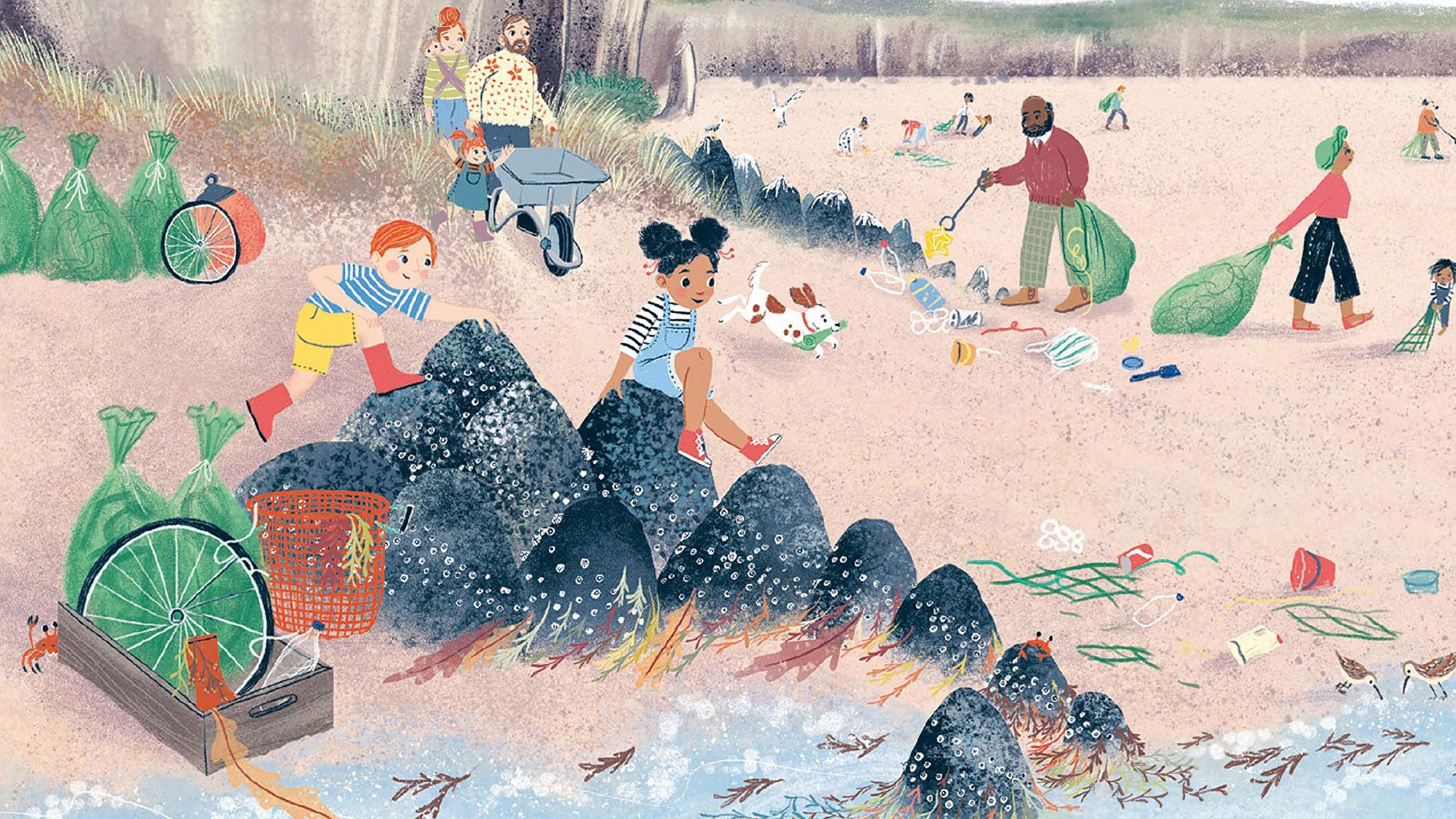 Illustration of plastic pollution on a beach taken from the picture book The WIde, Wide Sea