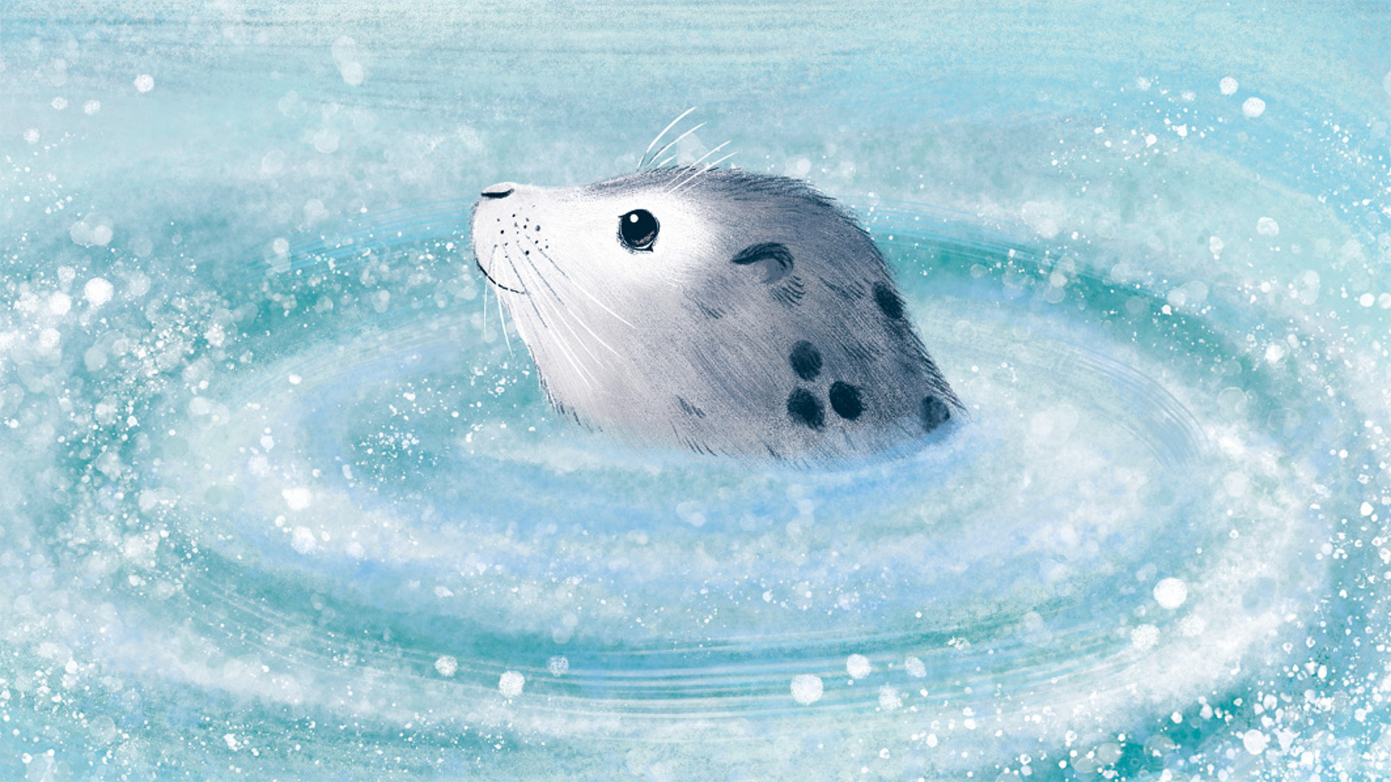Illustration of a seal bobbing in the waves, taken from The Wide, Wide Sea.
