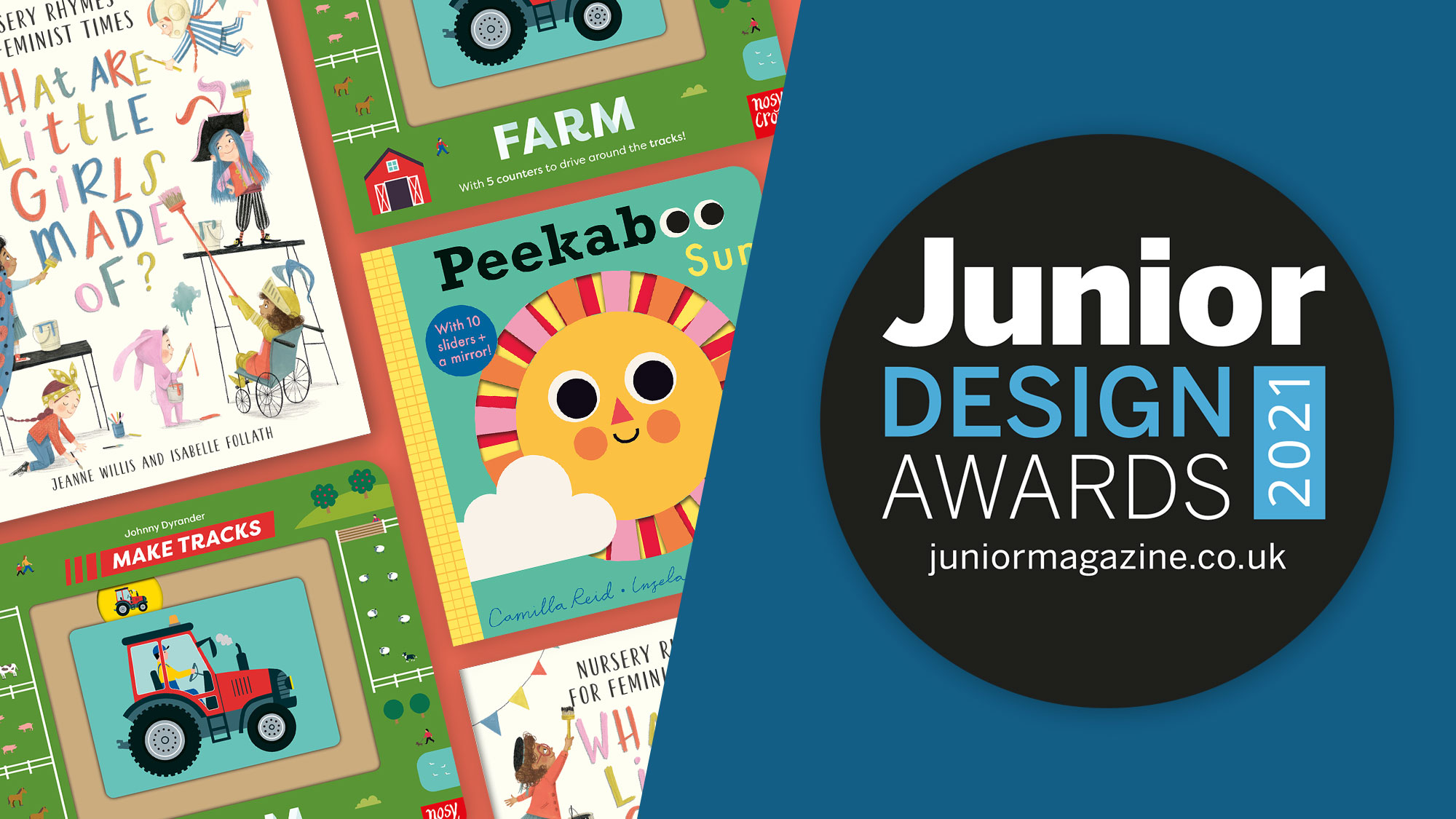 Three Nosy Crow books shortlisted for the 2021 Junior Design Awards